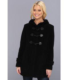 Cole Haan Wool Plush Hooded Toggle Coat