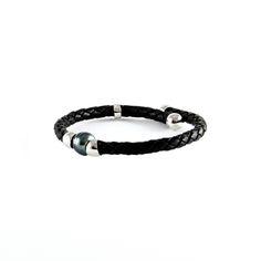 Bracelet cuir perle de tahiti homme