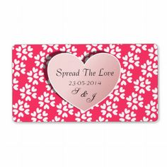 """Wedding Favors Jam Jar Labels Spread The Love - for DIY Wedding Favors.  A fabulous idea for wedding favors, little pots of jam or honey add these pretty little labels with cute pink and white hearts """"Spread The Love"""" personalized with your wedding date and initials or names."""