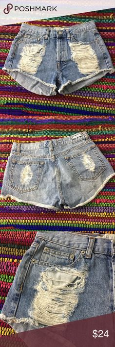 Brandy Melville Cut Off Jean Shorts Brandy Melville - cut off Jean Shorts , distressed in all the right places - especially in front pocket area, slight high waist - these are 100% Cotton , Size Italian 38/ US 0 Brandy Melville Shorts Jean Shorts