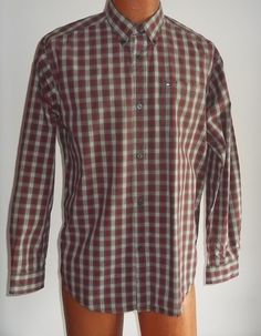 Tommy Hilfiger XL X Large Shirt Red Brown Beige Button Down Collar #TommyHilfiger