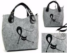 Large Felt bag with one cat handbag with embroidery - LATEST COLLECTION   -15% with HelloEtsy promotional code on www.ariadimodo.co.uk Made of high-