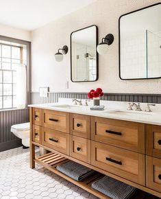 Shiplap Bathroom, Bathroom Renos, Bathroom Renovations, Small Bathroom, Bathroom With Oak Cabinets, Wood Counter Bathroom, Tiled Walls In Bathroom, Bathroom Double Vanity, Concrete Countertops Bathroom