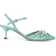 Miu Miu embellished glitter pumps (1,465 CAD) ❤ liked on Polyvore featuring shoes, pumps, green, glitter shoes, green shoes, green pumps, ankle strap pumps and green leather shoes