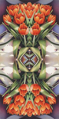 """Soul Plexus - Tulips With Pearl Chakras"" - Prismacolor Colored Pencils on White Strathmore paper by artist Amy Schreiber Turner"