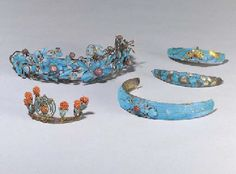 FIVE KINGFISHER FEATHER HAIR ORNAMENTS