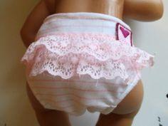 "Pink Striped Nana Nappy Doll Diaper Set With Ruffle Bottom 14-16"" Doll"