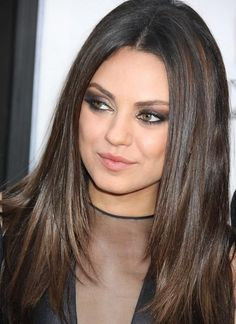 Mila Kunis has great example of dark chestnut brown with darker (level lowlights that create dimension in a basic, long style. Mila Kunis has great example of dark chestnut… Mila Kunis, Oval Face Hairstyles, Straight Hairstyles, Cool Hairstyles, Layered Hairstyles, 2014 Hairstyles, Hairdos, Natural Hairstyles, Fall Hair Color For Brunettes