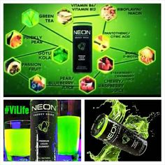 Move over Monster & Red Bull. Vi Neon is here!   ALL NATURAL, healthy energy Ultra purified water ALL NATURAL Green Tea NO Taurine NO Guarana NO additives, artificial flavors or colors NO ADDED SUGAR   AND it has the awesome cinchona flower in it for a cool natural glow (yep, it glows in the dark!)