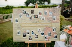 This map style guest book board contains polaroids of the guests making for a one-of-a-kind keepsake.