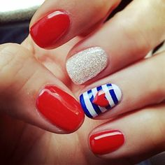 4th of July Nail Art - I would do all red with the one striped/heart.  So cute! - Click image to find more hair & beauty Pinterest pins