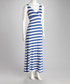 Take a look at this Blue & Ivory Stripe Surplice Maxi Dress by Fashion Instincts on #zulily today!