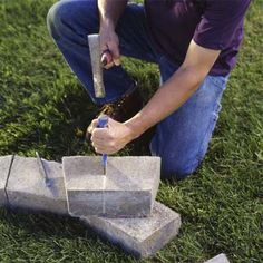 How to Build a Fire Pit - Lay out the stone blocks . Fire Pit Landscaping, Fire Pit Backyard, Landscaping Ideas, In Ground Fire Pit, How To Build A Fire Pit, Fire Pit Materials, Stone Blocks, Outdoor Fire, Outdoor Living