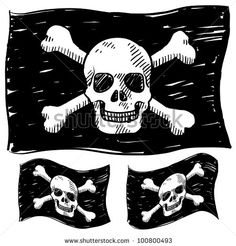 Doodle style jolly roger skull and crossbones illustration in vector format - stock vector