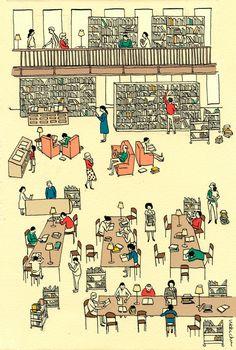Love a good library illustration. toelle:  by Vikki Chu
