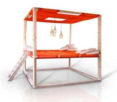 Modern canopy bed with pendant lights