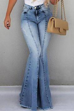 MoneRffi Mujeres Jeans de Pierna Ancha Jeans Mujeres Pantalones Bootcut Jeans Mujeres Slim Moda Show Delgado Casual Jeans Acampanados Pantalones Largos Pantalones Largos