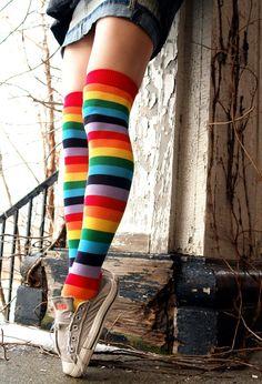 753369db3 Foot Traffic Rainbow Over Knee Socks