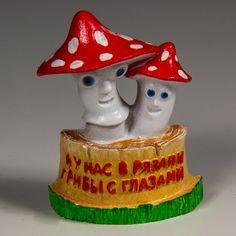 Resin Fridge Magnet: Russia. Ryazan. Mushrooms in Ryazan Have Eyes (Local Joke)