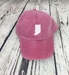 State of Indiana baseball hat - Pigment dyed hat - State hat - Monogrammed hat - State outline hat - State hat - Sports team hat - Gameday hat - Indiana hat - Team spirit hats