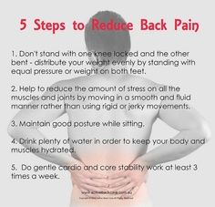 5 steps to reduce back pain