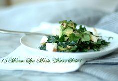 15 Minute Spa Meals: Healthy Detox Salad - Serving Size: 1 (370 calories per serving) Ingredients 1/4 head Tuscan kale* 1/2 – 1 avocado 1 small MacIntosh apple 1 tablespoon extra virgin olive oil 2 tablespoons sliced almonds Juice of 1/2 lime Pinch sea salt and pepper Drizzle of good honey, optional