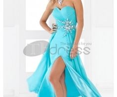 Strapless Sweetheart with Beadings Ruched Bodice Sexy Slit Chiffon Prom Dress 2013 Blush Prom Dress, Prom Dress 2013, A Line Prom Dresses, Prom Party Dresses, Pageant Dresses, Occasion Dresses, Homecoming Dresses, Strapless Dress Formal, Bridesmaid Dresses