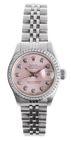 Rolex ladies Midsize Rolex Datejust with light pink diamond dial & diamond bezel & Jubilee bracelet