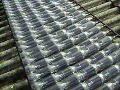 Aquecedor solar feito de garrafas PET