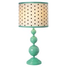 Polka dot and mint table lamp...DIY with spray paint and fabric