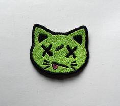 Cute zombie cara de gato de gatito - colores personalizados! -Brillante hierro en remiendo