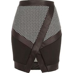 Black and white colour block wrap skirt - mini skirts - skirts - women