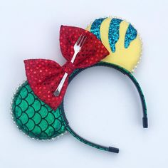 Mermaid Fish Mouse Ears - You are in the right place about healthy desserts Here we offer you the most beautiful pictures ab - Walt Disney Mickey Mouse, Diy Mickey Mouse Ears, Micky Ears, Deco Disney, Mini Mouse Ears Diy, Disney Cute, Diy Disney Ears, Disney Bows, Disney Disney