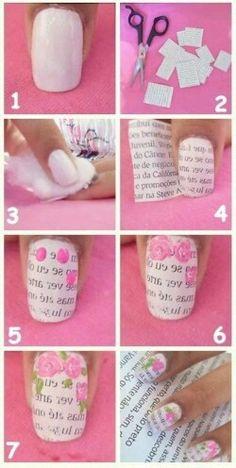 Passo a passo 1 – nail art de rosa com unha de jornal. unhas decoradas com rosas 30 Nail Manicure, Nail Polish, Newspaper Nails, Flower Letters, Rose Nails, Pretty Nail Art, Nail Art Diy, Nail Stickers, Nail Tutorials