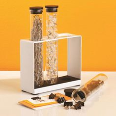 how cool is this? 3 test tubes for office supplies -- paper clips, binder clips & push pins