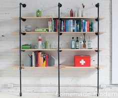 There are a lot of ways to use iron plumber's pipe to make shelves. Here's the way that has worked well for me. Pipe shelving systems are not cheap bu...
