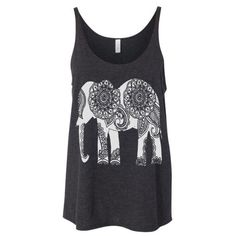 Womens Ethnic Elephant Print Graphic Modern Fashion Boho Chic Yoga... ($22) ❤ liked on Polyvore featuring tops, tanks, shirts, tank tops, black and women's clothing