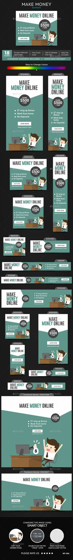 Make Money Banners — Photoshop PSD #discount #make • Available here → https://graphicriver.net/item/make-money-banners/20062398?ref=pxcr