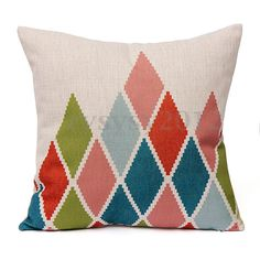 Geometric Flower Vintage Cotton Linen Pillow Case Cushion Cover Home Sofa Decor  | eBay