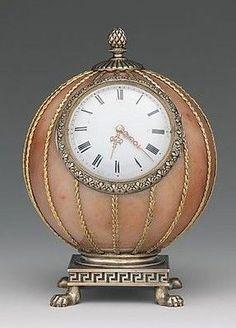 Fabergé--Spherical Clock--Before Workmaster: Mikhail Evlampievich Perkhin (St. Petersburg)--Rose jasper, silver, silver gilt, gold, enamel glass--The Metropolitan Museum of Art. Height This is such a beautiful piece of Art. Faberge Eier, Antique Clocks, Vintage Clocks, Antique Watches, Vintage Music, Vintage Cars, Cool Clocks, Unusual Clocks, Antique Furniture