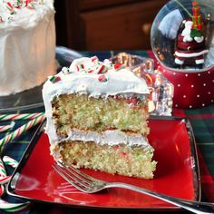 Candy Cane Cake - a festive take on one of our most popular scratch cake recipes, the White Velvet Cake. Great for Christmas parties and cupcakes too.