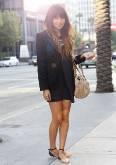T-shirt dress. Blazer. Beautiful Flats