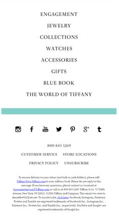 Tiffany & Co. email footer 2016