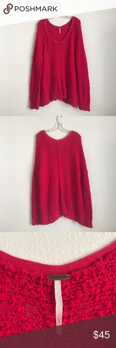 Free People Fuschia Hot Pink Oversized Sweater New condition, super adorable oversized sweater! Can wear off the shoulder or with both! Free People Sweaters V-Necks