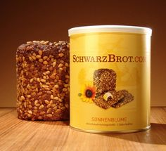 Rye wholemeal bread with sunflower seeds in a tin 500g. 5,90 EUR    schwarzbrot.com