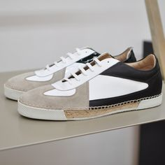 Jil Sander Espadrille Sneakers www. Casual Sneakers, White Sneakers, Sneakers Fashion, Casual Shoes, Fashion Shoes, Mens Fashion, Espadrilles, Espadrille Sneakers, Boys Shoes