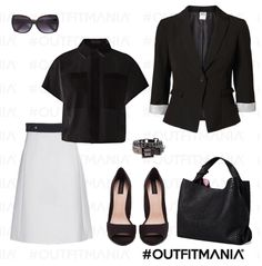 Outfit Black and White - stilish with skirt jacket bag and shoes very cool - #look - www.outfitmania.it/
