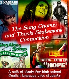 Lesson plan using the chorus of songs to teach what a solid thesis statement should be.