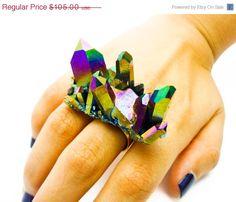 ON SALE  Titanium Quartz Rainbow Druzy Ring Aura by AstralEYE, $89.25