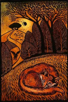 'Resting Fox' woodcut (limited edition of 50), approx. 45cm x 35cm, £145- Ian MacCulloch Illustration and Printmaking - Jardine Gallery